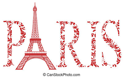sign Paris with eiffel tower - red sign Paris as vintage...