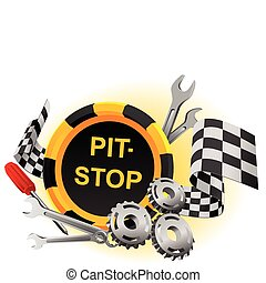 Sign pit-stop in a vector with the tool and gears