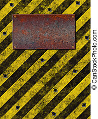 sign plaque bulletholes - old grungy yellow warning sign...