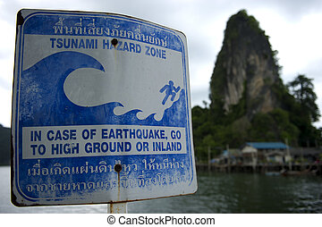 Sign pointing towards the tsunami evacuation route