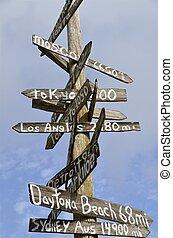Sign Post Distance Destinations - A wooden sign post...