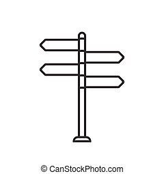 sign post icon, thin line