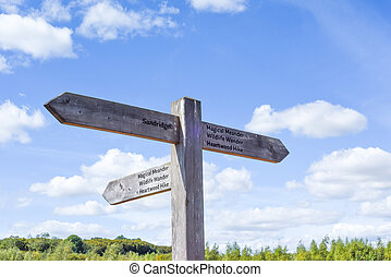 Sign post in Heartwood Forest in St Albans directing hikers to nature walks and hiking route