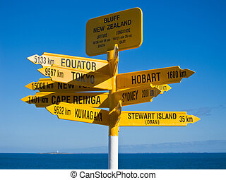 Signpost in Sterling point Bluff, South island of New Zealand