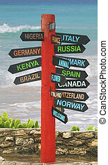 Sign post - sign on the coast of Barbados