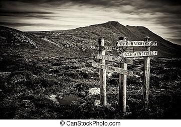 Sign Posts at Mt Field, Tasmania, Australia