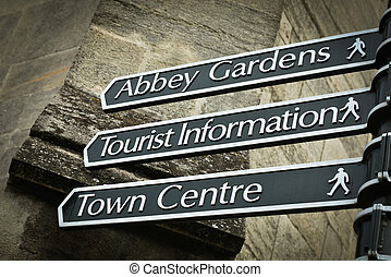 Sign posts to places in Bury St Edmunds