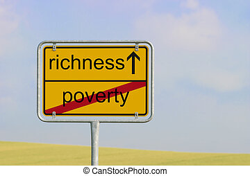 sign poverty richness