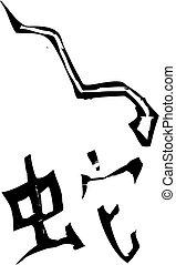 sign-, primitief, zodiac, chinees, slang
