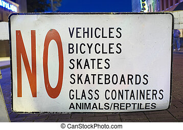 Sign Prohibiting Activities