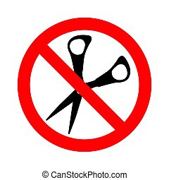 Sign prohibiting cutting packaging by scissors. Vector Illustration