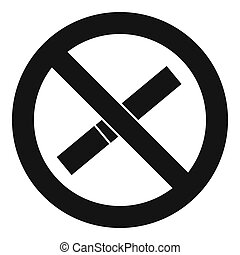 Sign prohibiting smoking icon, simple style