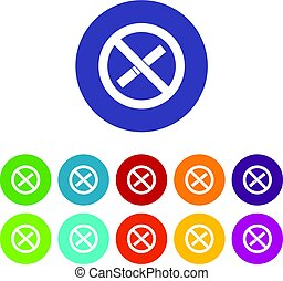 Sign prohibiting smoking icons set flat vector