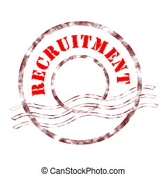 recruitment - Sign recruitment stamp labeled in red color.
