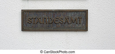 Sign registry office - German sign with the german word for...