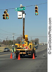 Sign repair - City crews working on street sign replacement...