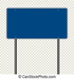 sign road blue on transparent background