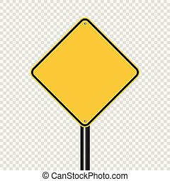 sign road yellow on transparent background