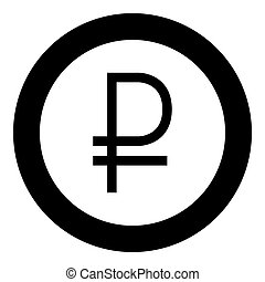 Sign ruble black icon in circle vector illustration