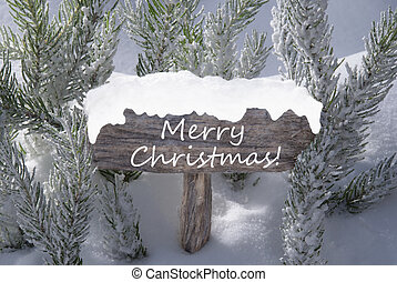 Sign Snow Fir Tree Branch With Text Merry Christmas