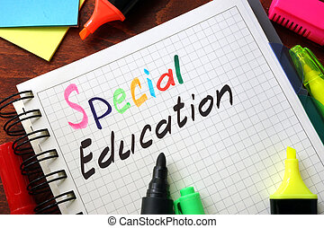 special education - Sign special education written in a...