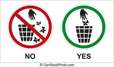 sign sticker garbage