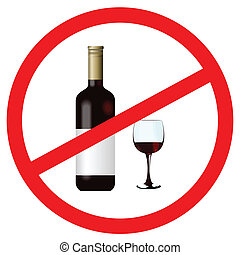 Vector illustration of sign stop alcohol