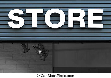 sign, store, neon, white