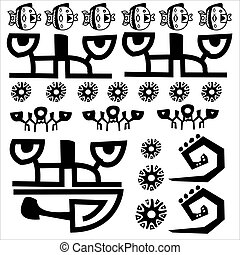 Sign, symbol, primitive, tribal, tatoo, hieroglyph, language, inscription, Inca, Maya, writing, drawing, paint, painting,