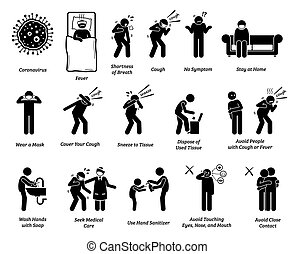 Vector artwork of people infected with coronavirus, influenza, or flu. Precaution and prevention ways to stop the pandemic virus from spreading.