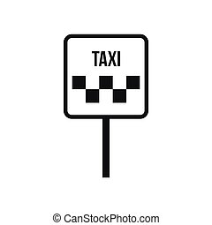 Sign taxi icon, simple style
