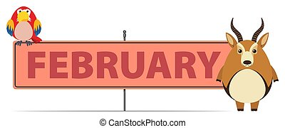 Sign template for February with gazelle illustration