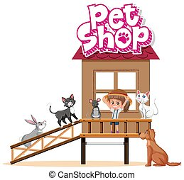 Sign template for pet shop with many animals in the house