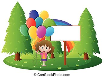 Sign template with girl holding balloons