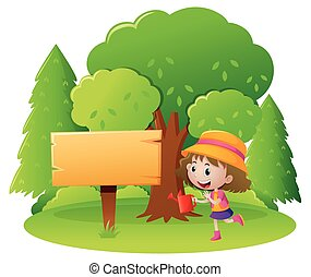 Sign template with girl in garden