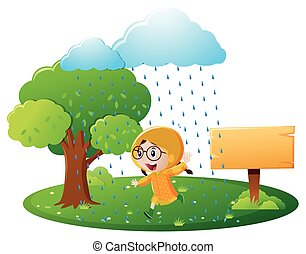 Sign template with girl in yellow raincoat