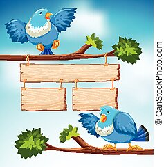 Sign template with two blue birds on the branch background