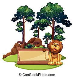Sign template with wild lion in forest