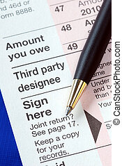 Sign the income tax return isolated on blue