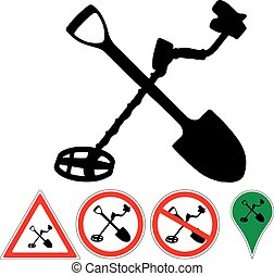 sign the metal detector and shovel on white