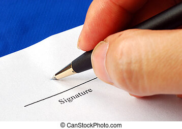 Sign the name on a paper with a pen isolated on blue