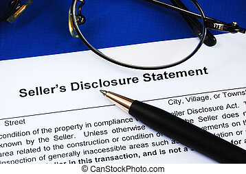 Sign the seller disclosure statement in a real estate...
