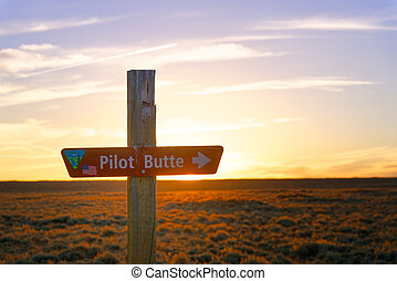 Sign to Pilot Butte along the Wild Horse Scenic Loop