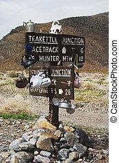 Teakettle Junction - Sign to Teakettle Junction in Death...