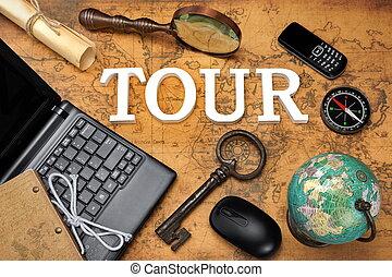 Sign Tour, Laptop, Key, Globe, Compass, GSM Phone, Letter, Magnifier