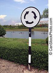 sign traffic circle
