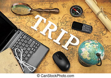 Sign Trip, Laptop, Mouse, Globe, Compass, GSM Phone, Letter, Magnifier