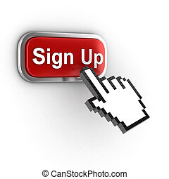 sign up 3d button - sign up button  3d illustration