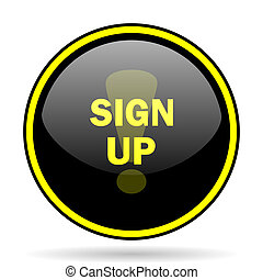 sign up black and yellow glossy internet icon