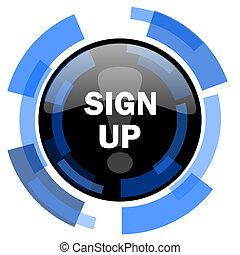 sign up black blue glossy web icon